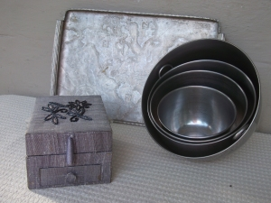 Jewelry box, serving tray, mixing bowls